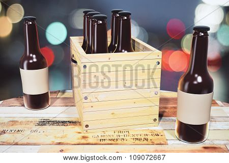 Black Bottles With Blank Sticker And Box Of Bottles On Wooden Table, Mock Up