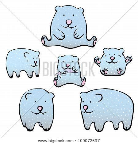 Cute illustrations of polar bears vector set.
