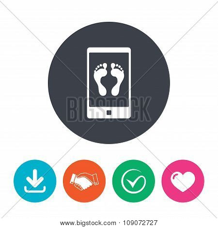 Selfie legs sign icon. Self feet photo symbol.