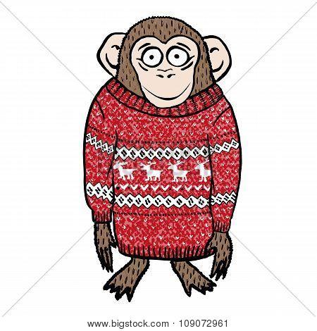 Monkey wearing reindeer sweater.