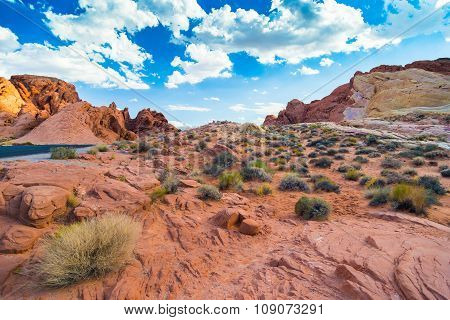 Red Rock Landscape In Valley Of Fire State Park, Nevada