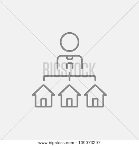 Real estate agent with three houses line icon for web, mobile and infographics. Vector dark grey icon isolated on light grey background.