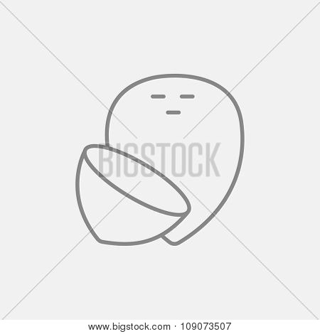 Coconut line icon for web, mobile and infographics. Vector dark grey icon isolated on light grey background.