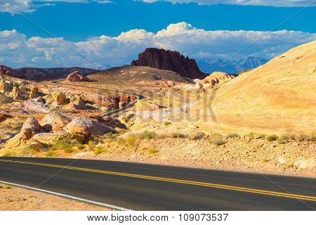 Winding Road Amid White Domes In Valley Of Fire State Park, Nevada