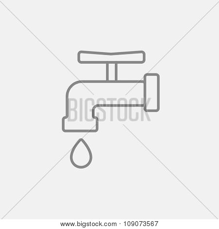 Faucet with water drop line icon for web, mobile and infographics. Vector dark grey icon isolated on light grey background.
