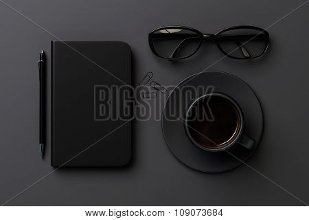 Black Style Concept With Black Blank Diary Cover, Black Cup Of Coffee And Glasses On Grey Table, Moc