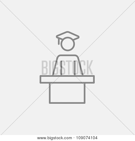 Graduate standing near tribune line icon for web, mobile and infographics. Vector dark grey icon isolated on light grey background.