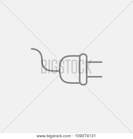 Plug line icon for web, mobile and infographics. Vector dark grey icon isolated on light grey background.