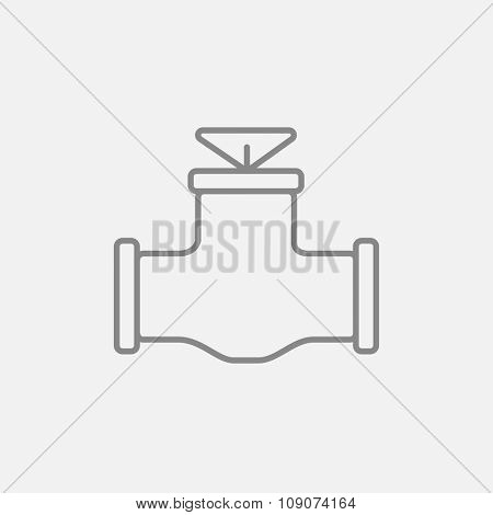 Gas pipe valve line icon for web, mobile and infographics. Vector dark grey icon isolated on light grey background.