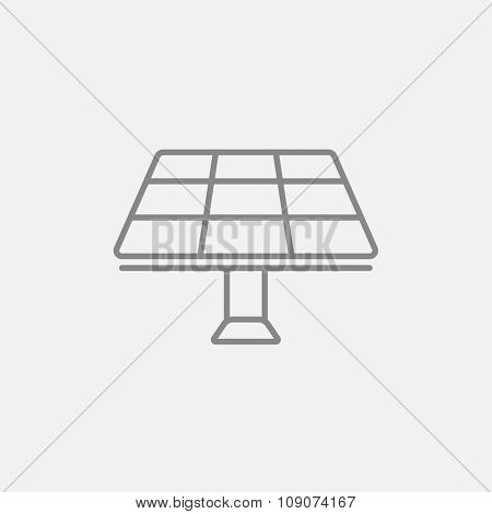 Solar panel line icon for web, mobile and infographics. Vector dark grey icon isolated on light grey background.
