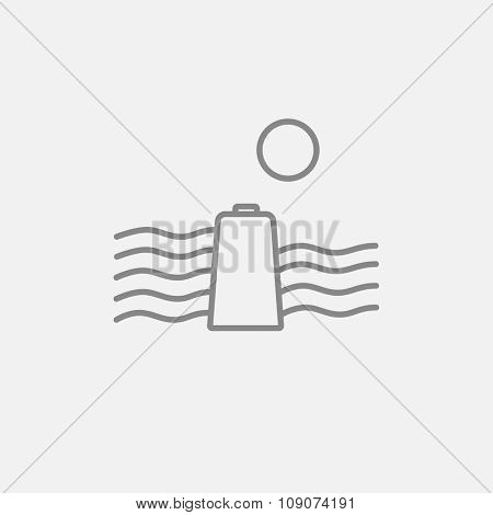 Sun and water waves with battery line icon for web, mobile and infographics. Vector dark grey icon isolated on light grey background.