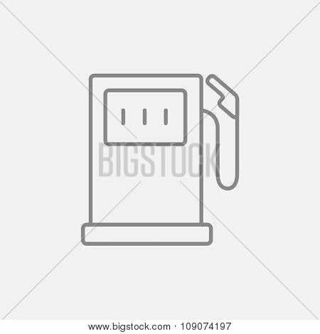 Gas station line icon for web, mobile and infographics. Vector dark grey icon isolated on light grey background.