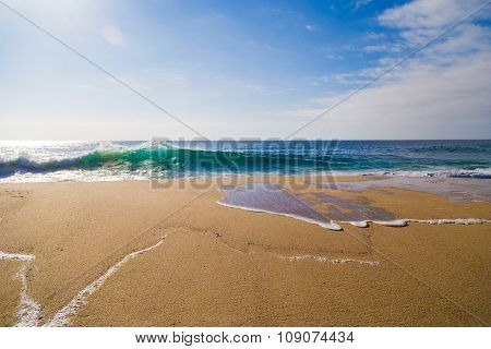 Ocean Waves In Garrapata State Beach In Big Sur, California