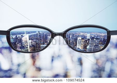 Clear Vision Concept With Eyeglasses And Night Megalopolis City Background