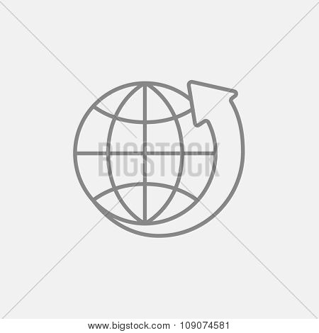 Earth and arrow around line icon for web, mobile and infographics. Vector dark grey icon isolated on light grey background.