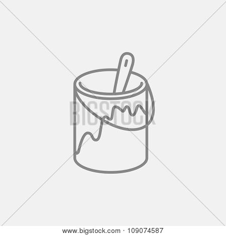 Paint brush in the paint thin line icon for web, mobile and infographics. Vector dark grey icon isolated on light grey background.