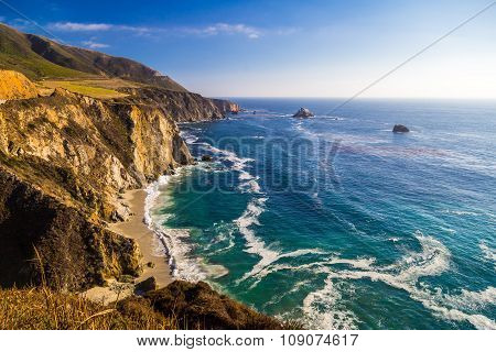 Ocean View Near Bixby Creek Bridge In Big Sur, California