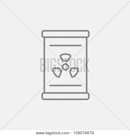 Barrel with ionizing radiation sign line icon for web, mobile and infographics. Vector dark grey icon isolated on light grey background.