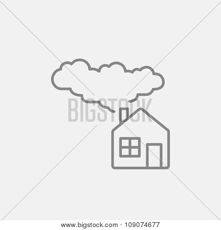 House with a chimney and smoke line icon for web, mobile and infographics. Vector dark grey icon isolated on light grey background.