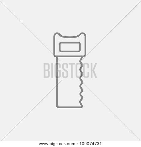 Saw line icon for web, mobile and infographics. Vector dark grey icon isolated on light grey background.