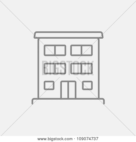 Residential building line icon for web, mobile and infographics. Vector dark grey icon isolated on light grey background.
