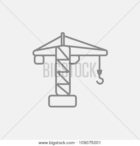 Construction crane line icon for web, mobile and infographics. Vector dark grey icon isolated on light grey background.