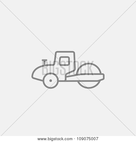 Road roller line icon for web, mobile and infographics. Vector dark grey icon isolated on light grey background.