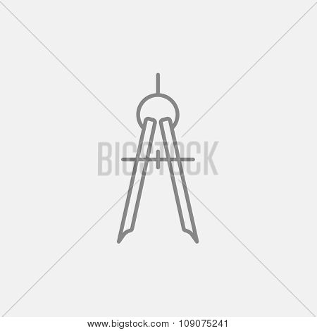 Compass line icon for web, mobile and infographics. Vector dark grey icon isolated on light grey background.