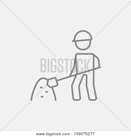 Man with shovel and hill of sand line icon for web, mobile and infographics. Vector dark grey icon isolated on light grey background.