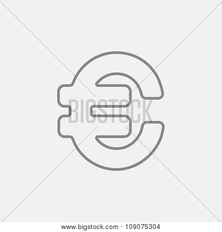 Euro symbol line icon for web, mobile and infographics. Vector dark grey icon isolated on light grey background.