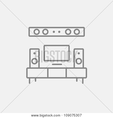 TV flat screen and home theater line icon for web, mobile and infographics. Vector dark grey icon isolated on light grey background.