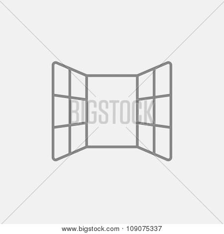 Open windows line icon for web, mobile and infographics. Vector dark grey icon isolated on light grey background.