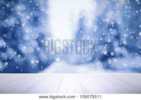 Wooden Table With Winter Weather Outside