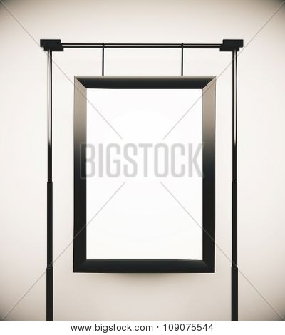 Blank Picture Frame At White Wall Background, Mock Up