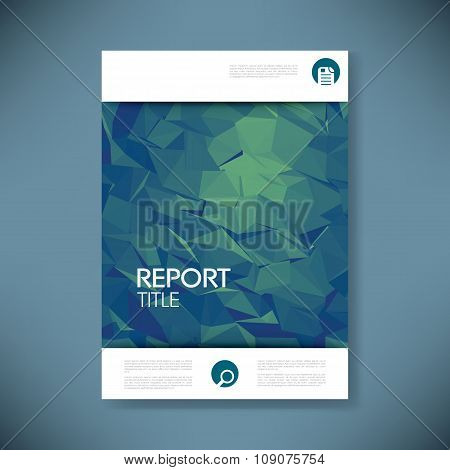 Report cover template with 3d low poly vector background. Business brochure or presentation title pa