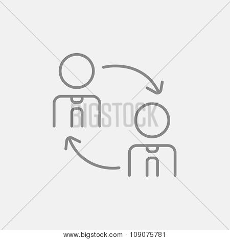 Staff turnover line icon for web, mobile and infographics. Vector dark grey icon isolated on light grey background.