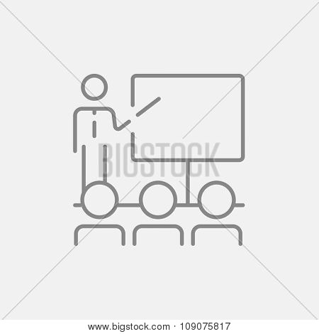 A man presenting his report to the audience line icon for web, mobile and infographics. Vector dark grey icon isolated on light grey background.