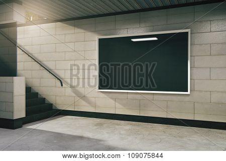Blank Black Billboard In Subway, Mock Up