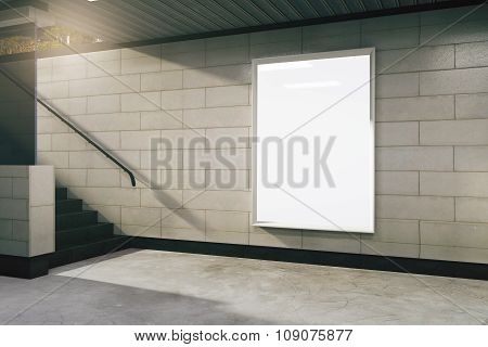 Blank White Billboard In Subway, Mock Up