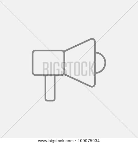 Megaphone line icon for web, mobile and infographics. Vector dark grey icon isolated on light grey background.