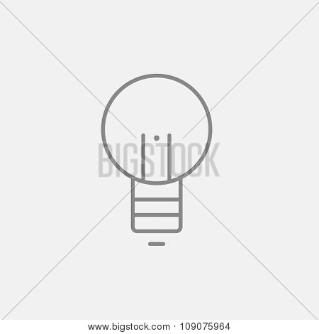 Lightbulb line icon for web, mobile and infographics. Vector dark grey icon isolated on light grey background.