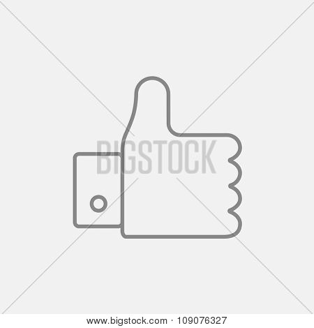 Thumb up line icon  for web, mobile and infographics. Vector dark grey icon isolated on light grey background.