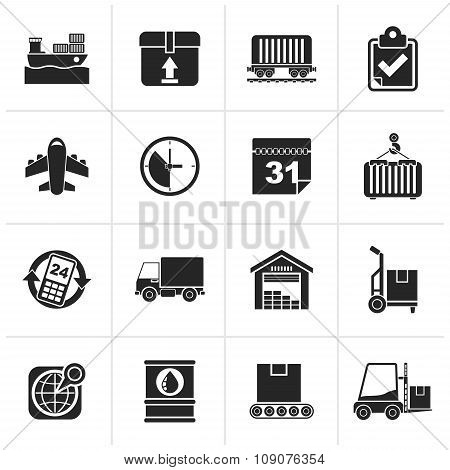 Black Logistic and Shipping icons