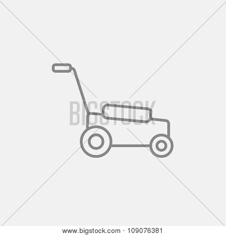 Lawnmover line icon for web, mobile and infographics. Vector dark grey icon isolated on light grey background.