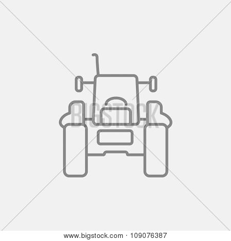 Tractor line icon for web, mobile and infographics. Vector dark grey icon isolated on light grey background.