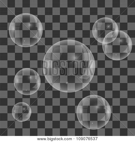 Set of Transparent Soap  Water Bubbles