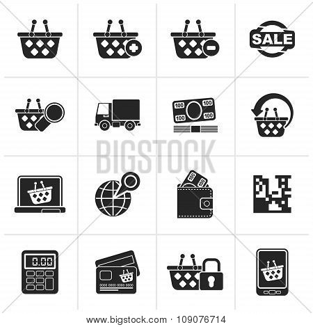Black shopping and retail icons