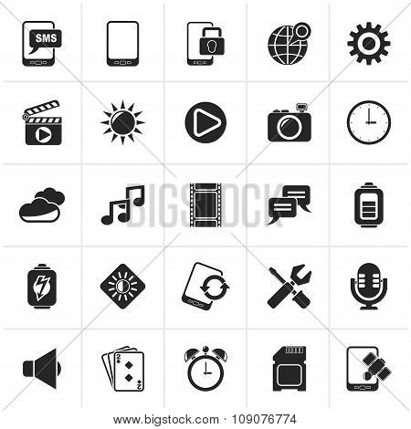 Black Mobile Phone Interface icons