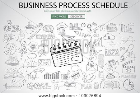 Business Process Schedule with Doodle design style :finding solution, brainstorming, creative thinking. Modern style illustration for web banners, brochure and flyers.