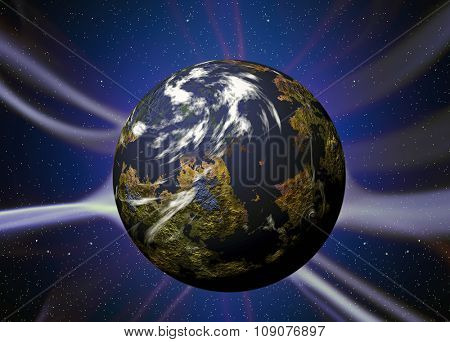 Illustration of night sky with simulated planet with plasma rays